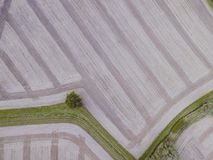 Aerial Drone View Of Harvested Farm Near Box Hill. Stripy, with grass and trees. stock images