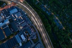 Aerial drone view on highway and industrial zone in Gliwice royalty free stock photo