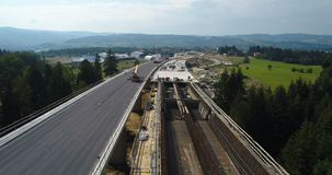 Aerial drone view on highway under construction. stock footage