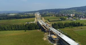 Aerial drone view on highway under construction. stock video footage