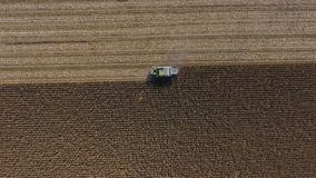 Aerial drone view on huge agricultural fields royalty free stock images