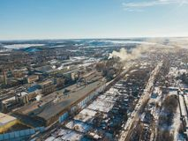 Aerial drone view of industrial area of refractory plant. Fuming pipes of factory.  stock photography