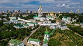 Aerial drone view of Kiev Pechersk Lavra churches on hills from above, cityscape of Kyiv city, Ukraine. Aerial drone view of Kiev Pechersk Lavra churches on stock photos