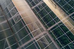 Aerial drone view on large modern glass houses Stock Photos