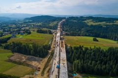 Aerial drone view on motorway construction. Road works. Road construction royalty free stock images