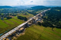 Aerial drone view on motorway construction. Road works. Road construction stock photos