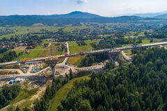 Aerial drone view on motorway construction. Road works. Road construction stock photo