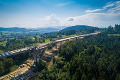 Aerial drone view on motorway construction. Road works. Road construction stock photography