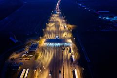 Aerial drone view on motorway with toll collection point Stock Photos