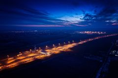 Aerial drone view on motorway with toll collection point royalty free stock photography