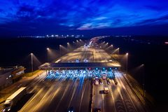 Aerial drone view on motorway with toll collection point Royalty Free Stock Photos