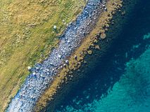 Aerial drone view of nature coastline of remote place Royalty Free Stock Image