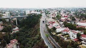 Aerial drone view of new residential area of Mexico City suburbs. Huixquilucan, Estado de Mexico, Mexico, january 20th 2019: Aerial drone view of new residential stock video