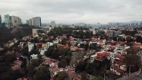 Aerial drone view of new residential area of Mexico City suburbs. Huixquilucan, Estado de Mexico, Mexico, january 20th 2019: Aerial drone view of new residential stock footage