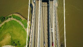 Aerial drone view of New York Manhattan Bridge Upper Roadway, rush hour stock video