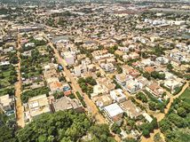 Aerial Drone view of niarela Quizambougou Niger Bamako Mali. Bamako is the capital and largest city of Mali, with a population of 1.8 million. In 2006, it was Royalty Free Stock Photo