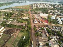 Aerial Drone view of niarela Quizambougou Niger Bamako Mali. Bamako is the capital and largest city of Mali, with a population of 1.8 million. In 2006, it was stock photography
