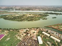 Aerial Drone view of niarela Quizambougou Niger Bamako Mali. Bamako is the capital and largest city of Mali, with a population of 1.8 million. In 2006, it was Stock Image