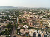 Aerial Drone view of niarela Quizambougou Niger Bamako Mali. Bamako is the capital and largest city of Mali, with a population of 1.8 million. In 2006, it was royalty free stock photos