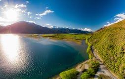 Aerial drone view, north side of Lake Wanaka at Makarora, South Island, New Zealand royalty free stock photos