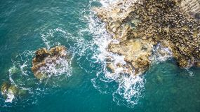 Aerial drone view of the ocean and waves crashing on rocks. stock photos