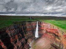 Free Aerial Drone View Of Hengifoss Waterfall In Iceland Royalty Free Stock Photography - 215156327
