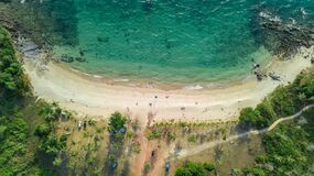 Aerial Drone View Of Tropical Beach From Above, Sea, Sand And Palm Trees Island Beach Landscape, Thailand Royalty Free Stock Photos