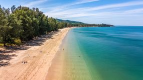 Aerial Drone View Of White Sand Tropical Beach And Andaman Sea From Above, Koh Lanta Island, Thailand Stock Photo