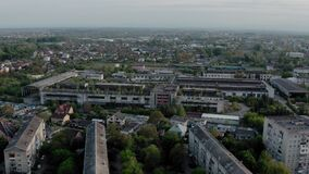 Aerial drone view. Old factory ruin industrial building for demolition. Wide shot
