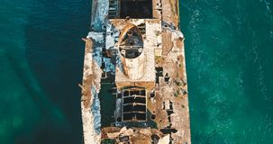 Aerial Drone View Of Old Shipwreck Ghost Ship Royalty Free Stock Photography