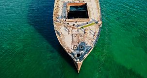 Aerial Drone View Of Old Shipwreck Ghost Ship Royalty Free Stock Photos