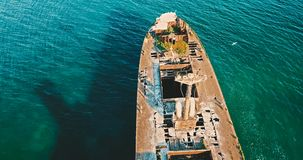 Aerial Drone View Of Old Shipwreck Ghost Ship Royalty Free Stock Images