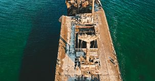 Aerial Drone View Of Old Shipwreck Ghost Ship Stock Photography