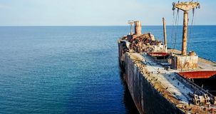 Aerial Drone View Of Old Shipwreck Ghost Ship Stock Image