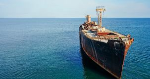 Aerial Drone View Of Old Shipwreck Ghost Ship Stock Images