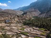 Aerial view of an old Omani village. Royalty Free Stock Photo