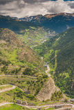 Aerial drone view over valley in Andorra Stock Images