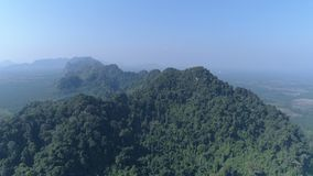 Aerial view of partially destroyed rain forest. Aerial drone view of partially destroyed rain forest in Thailand stock video