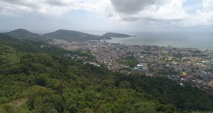 Aerial drone view of Patong bay and town in Phuket stock footage
