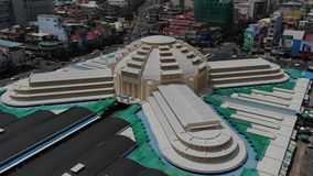 Aerial slow descend at Phnom Penh Central Market in Cambodia, Southeast Asia;. Aerial drone view Phnom Penh Central Market in Cambodia, Southeast Asia; slow stock video