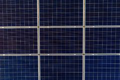 Aerial drone view on photovoltaic panels on solar farm Stock Photos