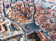 Aerial drone view Prague Old Town Square Czech Republic Church of Our Lady Before Tyn. Prague Old Town Square Czech Republic Church of Our Lady Before Tyn stock photo