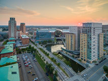 Aerial drone view of Providence Rhode Island royalty free stock photos