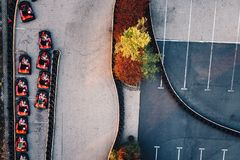 Aerial drone view on racing go-kart track. Motorsport Stock Image