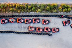 Aerial drone view on racing go-kart track. Motorsport Royalty Free Stock Photography