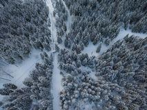 Aerial drone view of road in idyllic winter landscape. from a birds eye view. royalty free stock images