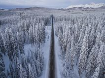 Aerial drone view of road in idyllic winter landscape. Street running through the nature from a birds eye view. royalty free stock images