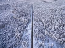 Aerial drone view of road in idyllic winter landscape. Street running through the nature from a birds eye view. royalty free stock image