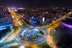 Aerial drone view of roundabout in Katowice at night. Silesia, Poland Royalty Free Stock Image