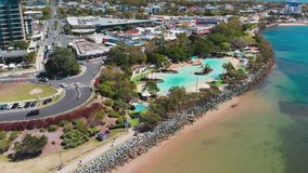 Aerial drone view of Settlement Cove Lagoon, Redcliffe, Australia. Aerial drone view of Settlement Cove Lagoon, Redcliffe, Brisbane, Australia stock video footage